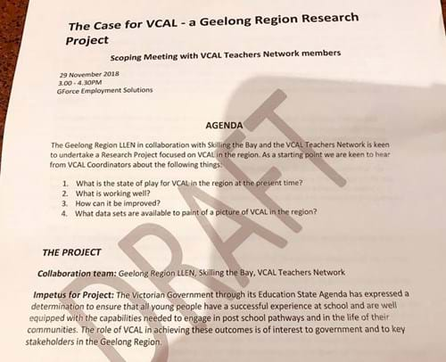 VCAL research project agenda